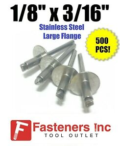 qty 500 1 8 X 3 16 Grip All Stainless Steel Large Flange Pop Rivet