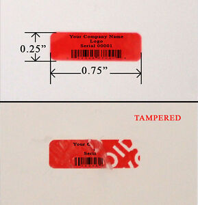 500 Security Label Warranty Sticker Red Custom Print Tamper Evident 0 75 X 25