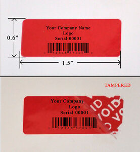 500 Security Label Sticker Red Custom Print Tamper Proof 1 5 x 6 Warranty Seals