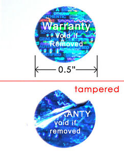 10000 Hologram Round Security Labels Sticker Seals Custom Printed Blue 1 2 Void
