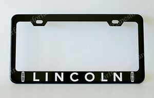 Lincoln Black License Plate Frame Custom Made Of Powder Coated Metal