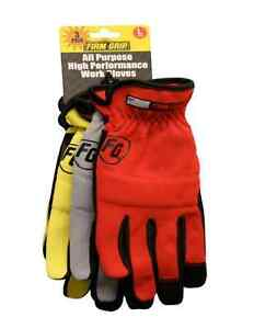 High Dex Safety Construction Gloves 3pack Size Large Firm Grip Synthetic Leather