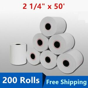 200 Rolls Case 2 1 4 X 50 Thermal Credit Card Cash Register Pos Receipt Paper