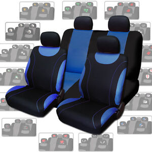 New Blue Flat Cloth Car Seat Covers With Designer Headrest Covers For Honda