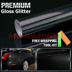 High Gloss Glitter Black Sparkle Car Vinyl Wrap Sticker Decal Sheet Film Diy