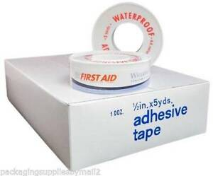 48 Rolls Strong Frist Aid Adhesive Waterproof Tape 1 2 X 5 Yards free Ship