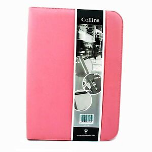 Collins Portfolio Baby Pink Zip Round 7017 Ring Binder And Pad Zip Back Pocket