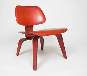 Eames Herman Miller Early 50 S Lcw Early Red Aniline All Original Lounge Chair