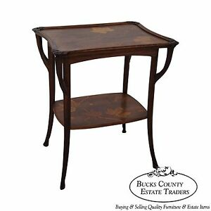 Antique French Art Nouveau Marquetry Inlaid Side Table Attributed To Galle
