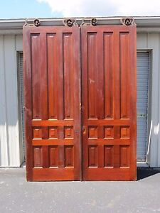 Antique Pair 8 Ft Tall Cherry Interior Sliding Pocket Doors W Rollers Hardware