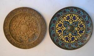 19th Century French F Barbedienne French Bronze And Champleve Enamel Plates