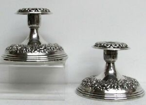 1890 S Repousse S Kirk Sons Sterling Silver Candle Holders