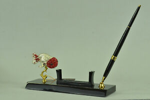24k Gold Plated Fish Pen Holder With Quality Gem Stone Bronze Sculpture Figurine