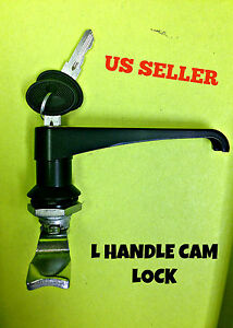 Lot Of 8 L Handle Latch Key Cam Lock Keyed Alike Black Cabinet 111 1 2 01 42
