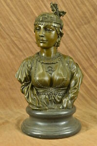 Bronze Grecian Goddess Elegant Classic Nude Female Portrait Bust Marble Base