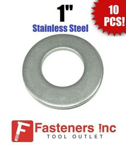 qty 10 1 Stainless Steel Flat Washers 18 8 Stainless 2 Od 105 Thick