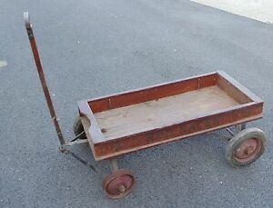 Vintage Red Racer Wagon Needs Wheel Work Only