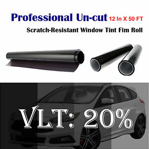 Uncut Roll Window Tint Film 20 Vlt 12 In X 50 Ft Windshield Sun Visor Strip