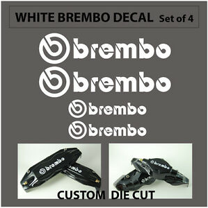 Set Of 4 Brembo Decal Sticker Vinyl Caliper Brake Custom Wheel White Black Red