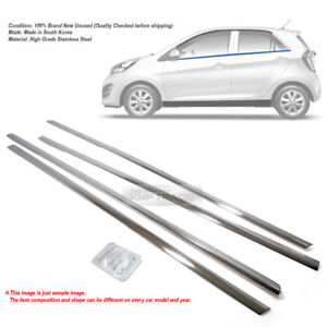 Stainless Chrome Window Vent Visor Under Molding Trim 8p For Kia 2011 16 Picanto