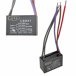 2 pack Replacement Motor Ceiling Fan Capacitor Cbb61 4 5uf 5uf 5uf 5 wire