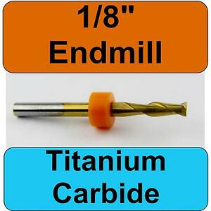 1 8 Titanium Nitride Coated Carbide End Mill With 1 8 Shaft Cnc Fr4 M146