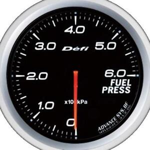 Defi Advance Bf White 60mm Fuel Pressure Gauge Metric