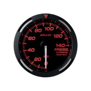 Defi Red Racer 52mm Pressure Gauge W White Needle 0 To 140psi