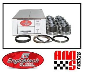 4 00 Bore Coated Flat Top Pistons W Rings For 2002 2008 Chevrolet 6 0l