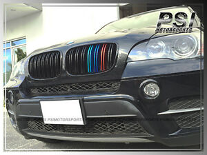 Shiny Black Bmw E70 X5 X5m E71 X6 M Look W Tri Color Front Grille 2008 2013