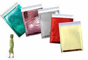 6 X 9 Gold silver red pink teal Mirrored Metallic Poly Bubble Mailer 100pack