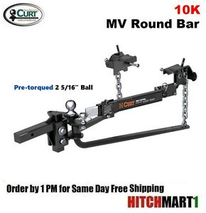 10k Mv Round Bar Weight Distribution Trailer Hitch Package W 2 5 16 Ball 17062