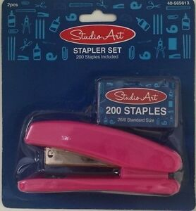 Stapler Set Home School Business 200 Staples Included Pink