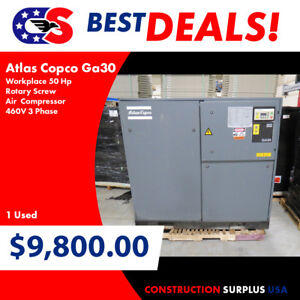 Atlas Copco Ga30 Workplace 50 Hp Rotary Screw Air Compressor 460v 3 Phase