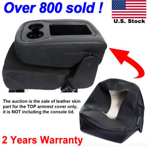 Leather Armrest Console Jump Seat Cover Top 07 13 Silverado Tahoe Sierra Black