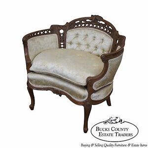 Vintage French Walnut Louis Xv Style Bergere Canape W Carved Birds