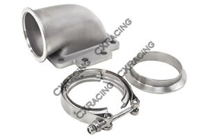 Cxracing 3 Vband 90 Degree T6 Turbo Elbow Adapter Flange Clamp 304 Ss Cast