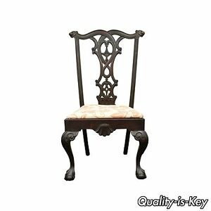 Antique 19th C Mahogany Chippendale Style Ball Claw Shell Carved Side Chair