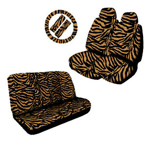 Low Back Head Rest Front Back Seat Covers Zebra Tan