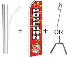 popcorn Flag 4 Piece Pole Kit W Ground Spike Or Tire Mount 16