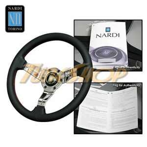 Nardi Rally Deep Corn 330mm Polish Steering Wheel Black Perforated Leather Red
