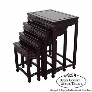 Chinese Rosewood Nest Of 4 Tables A