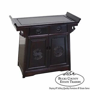Quality Chinese Rosewood Pagoda Top Cabinet Console