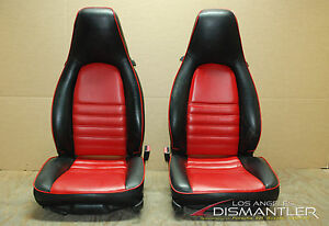 Porsche 911 964 Carrera Black Red 4x4 Way Leather Seats Pair Left Right Factory
