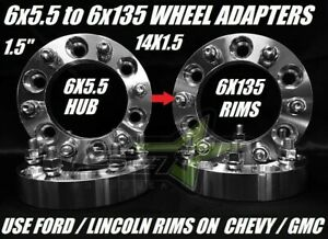 4 Wheel Adapters 6x5 5 To 6x135 1 5 Inch Use Ford Wheels On Chevy 14x1 5 Studs