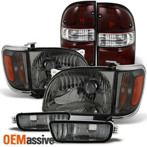 Fits 01 04 Toyota Tacoma Smoked Headlight Corner Bumper Lamp Dark Red Tail Light