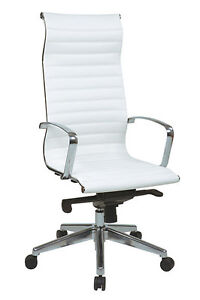 Office Star High back White Eco Leather Chair With Built in Headrest 73023