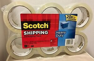 6 Rolls Scotch Heavy Duty Shipping Packaging Tape For Dispenser 1 88in X 54 6 Yd
