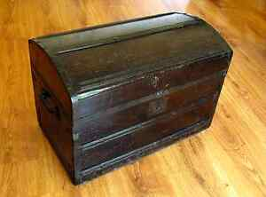Antique Civil War Or Earlier Antique Chest Furniture Trunk Old Wood 1800 S