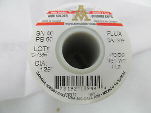 Aim 18 1 Lb Spools Of Wire Solder Flux Sn 40 Pb 60 125 Acid Core Ebmz0701